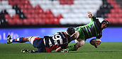 23rd March 2018, Ashton Gate, Bristol, England; RFU Rugby Championship, Bristol versus Yorkshire Carnegie; Stevie McColl of Yorkshire Carnegie looks for the offload after being tackled by Sam Jeffries of Bristol