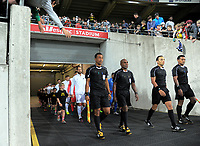 The teams walk out for the 2018 FIFA World Cup Russia qualifying match between the NZ All Whites and Fiji  at Westpac Stadium in Wellington, New Zealand on Tuesday, 28 March 2016. Photo: Dave Lintott / lintottphoto.co.nz