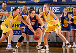 BROOKINGS, SD - NOVEMBER 1: Sydney Palmer #32 and Tagyn Larson #24 from South Dakota State battle for the ball with Gabbie Bohl #32 from the University of Mary during their exhibition game Thursday night at Frost Arena in Brookings. (Photo by Dave Eggen/Inertia)