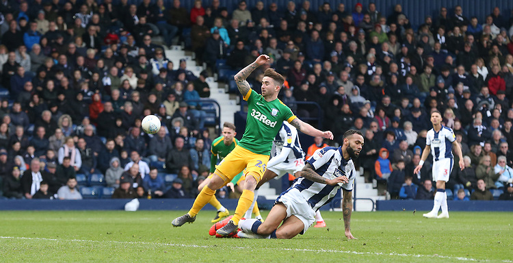 Preston North End's Sean Maguire battles with West Bromwich Albion's Kyle Bartley<br /> <br /> Photographer Stephen White/CameraSport<br /> <br /> The EFL Sky Bet Championship - West Bromwich Albion v Preston North End - Saturday 13th April 2019 - The Hawthorns - West Bromwich<br /> <br /> World Copyright © 2019 CameraSport. All rights reserved. 43 Linden Ave. Countesthorpe. Leicester. England. LE8 5PG - Tel: +44 (0) 116 277 4147 - admin@camerasport.com - www.camerasport.com