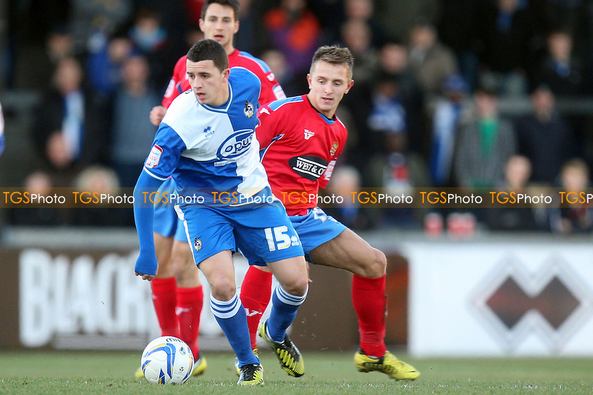 Oliver Norburn of Bristol Rovers and Jake Reed of Dagenham - Bristol Rovers vs Dagenham and Redbridge at the Memorial Stadium  - 08/12/12 - MANDATORY CREDIT: Dave Simpson/TGSPHOTO - Self billing applies where appropriate - 0845 094 6026 - contact@tgsphoto.co.uk - NO UNPAID USE.