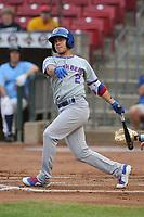South Bend Cubs shortstop Rafael Narea (2) swings against the Cedar Rapids Kernels at Veterans Memorial Stadium on May 1, 2018 in Cedar Rapids, Iowa.  (Dennis Hubbard/Four Seam Images)