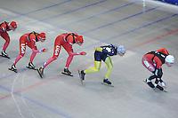 SCHAATSEN: HEERENVEEN: Thialf, 26-06-2012, Zomerijs, Team LIGA, Thijsje Oenema, Janine Smit, Margot Boer, Daniel Greig (AUS), Lucas Duffield (CAN), ©foto Martin de Jong