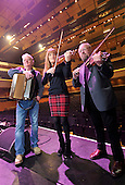 Celtic Connections 2014 photocall - pic shows concert violinist Nicola Benedetti with veterean Scottish musicians Phil Cunningham (left) and Aly Bain on the stage of the Glasgow Royal Concert Hall beginning their soundcheck for last nights (Thurs) Celtic Connections Opening Concert - the festival lasts for three weeks and involves some 2100 performers and 300 events across the city -- picture by Donald MacLeod - 16.01.14 – 07702 319 738 – clanmacleod@btinternet.com – www.donald-macleod.com