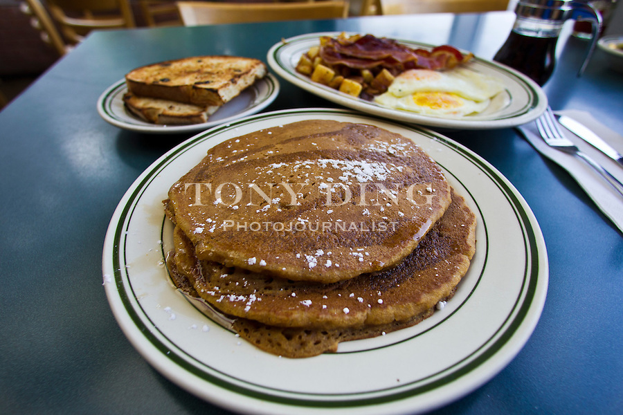 Pumpkin Pancakes ($6.99 full stack) and home made raisin bread ($2.35) are fall favorites at Angelo's Restaurant, Saturday, Sept. 3, 2011 in Ann Arbor, Mich. (Tony Ding for The New York Times)
