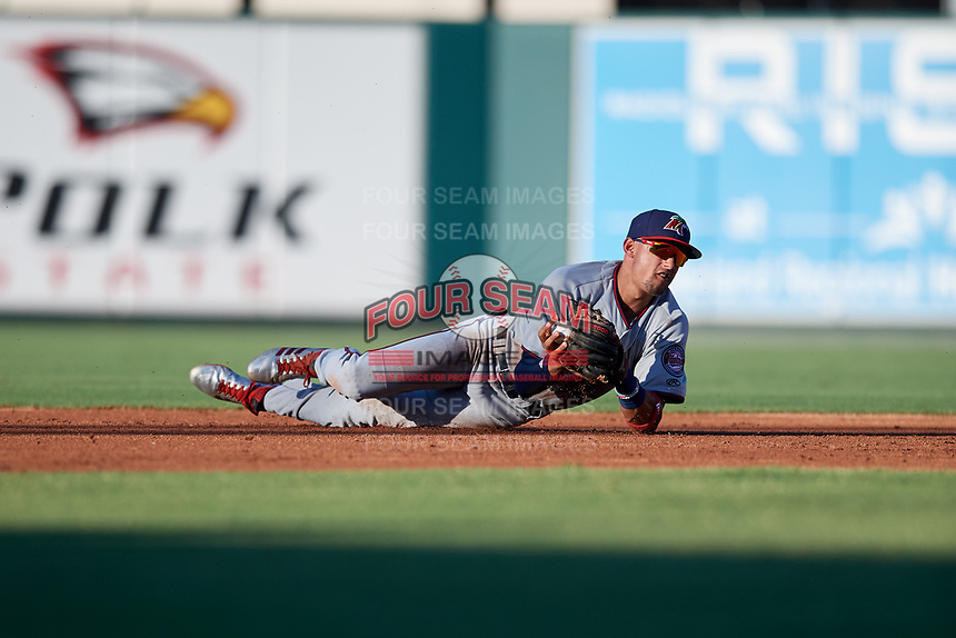 Fort Myers Miracle shortstop Royce Lewis (4) transfers the ball from his glove to his throwing hand after making a diving stop during a game against the Lakeland Flying Tigers on August 7, 2018 at Publix Field at Joker Marchant Stadium in Lakeland, Florida.  Fort Myers defeated Lakeland 5-0.  (Mike Janes/Four Seam Images)