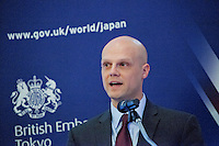 OCTOBER 15, 2015 -TOKYO, JAPAN: Derek White, of Barclays at an event at the British Embassy in Tokyo, to encourage collaboration between London and Japan in financial technology.  (Photo / Ko Sasaki  )