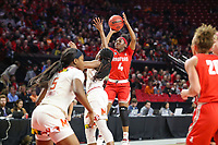 College Park, MD - March 23, 2019: Radford Highlanders guard Khiana Johnson (4) shoots the ball during game between Radford and Maryland at  Xfinity Center in College Park, MD.  (Photo by Elliott Brown/Media Images International)