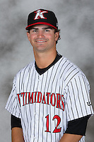 Kannapolis Intimidators pitcher Ryan Riga (12) poses for a photo at Kannapolis Intimidators Stadium on April 5, 2016 in Kannapolis, North Carolina.  (Brian Westerholt/Four Seam Images)