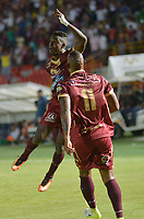 IBAGUÉ - COLOMBIA, 16-08-2016: Marco Perez jugador del Deportes Tolima celebra después de anotar un gol a Atlético Bucaramanga durante partido por la fecha 16 de la Liga Águila II 2017 jugado en el estadio Manuel Murillo Toro de Ibagué. / Marco Perez player of Deportes Tolima celebrates after scoring a goal to Atletico Bucaramanga during match for date 16 of the Aguila League II 2017 played at Manuel Murillo Toro stadium in Ibague city. Photo: VizzorImage / Juan Carlos Escobar / Cont