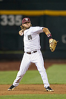 Mississippi State third baseman Alex Detz (3) makes a throw to first base during Game 1 of the 2013 Men's College World Series Finals against the UCLA Bruins on June 24, 2013 at TD Ameritrade Park in Omaha, Nebraska. The Bruins defeated the Bulldogs 3-1, taking a 1-0 lead in the best of 3 series. (Andrew Woolley/Four Seam Images)
