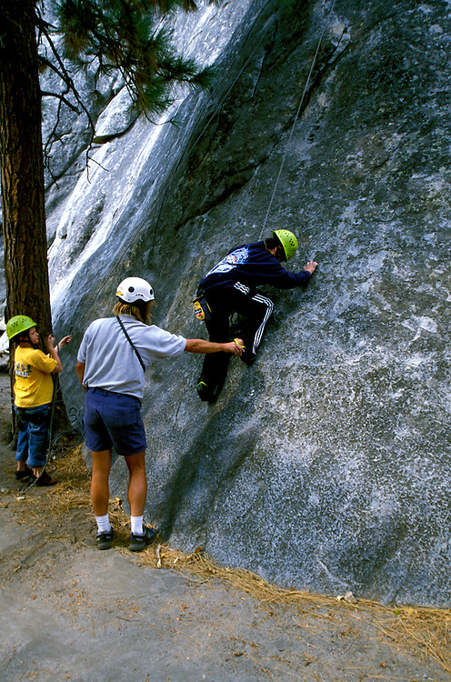 CA: Yosemite National Park, Rock climbing at Swan's Slabs  .Photo Copyright: Lee Foster, lee@fostertravel.com, www.fostertravel.com, (510) 549-2202.cayose208