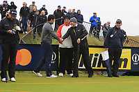 Adrian Otaegui (ESP) greets Brendan Lowry on the 9th tee during the preview of the the 148th Open Championship, Portrush golf club, Portrush, Antrim, Northern Ireland. 17/07/2019.<br /> Picture Thos Caffrey / Golffile.ie<br /> <br /> All photo usage must carry mandatory copyright credit (© Golffile | Thos Caffrey)