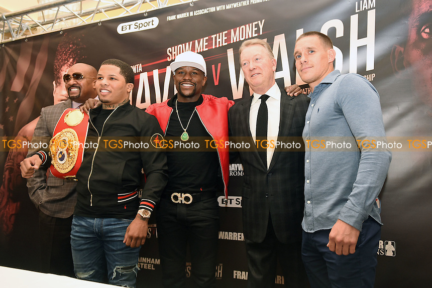 From R: Liam Walsh, Frank Warren, Floyd Mayweather Jr and Gervonta Davis during a Press Conference at the Savoy Hotel on 7th March 2017
