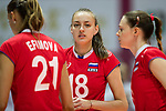 Wing spiker Kseniia Parubets (C) of Russia looks during the FIVB Volleyball World Grand Prix - Hong Kong 2017 match between Japan and Russia on 23 July 2017, in Hong Kong, China. Photo by Yu Chun Christopher Wong / Power Sport Images