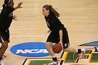 6 April 2008: Stanford Cardinal Candice Wiggins (left) and Jeanette Pohlen (right) during Stanford's 82-73 win against the Connecticut Huskies in the 2008 NCAA Division I Women's Basketball Final Four semifinal game at the St. Pete Times Forum Arena in Tampa Bay, FL.