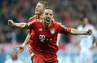 FUSSBALL   CHAMPIONS LEAGUE  HALBFFINAL HINSPIEL   2011/2012      FC Bayern Muenchen - Real Madrid          17.04.2012 Jubel nach dem Tor zum 1:0, Franck Ribery (FC Bayern Muenchen)
