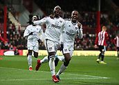 2nd December 2017, Griffen Park, Brentford, London; EFL Championship football, Brentford versus Fulham; Neeskens Kebano of Fulham celebrates scoring his sides 1st goal in the 25th minute to make it 1-0 with Ryan Sessegnon
