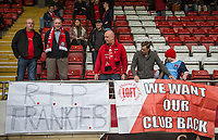 Leyton Orient fans put up a R.I.P Frankie B banner in memory of a lifelong supporter Frankie Bish who passed away recently ahead of the Sky Bet League 2 match between Leyton Orient and Wycombe Wanderers at the Matchroom Stadium, London, England on 1 April 2017. Photo by Andy Rowland.