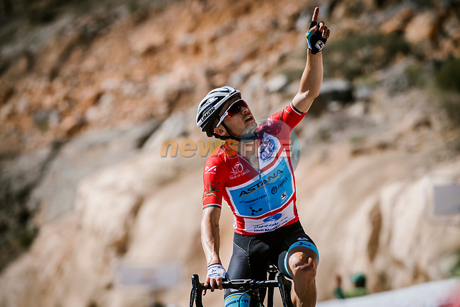 Race leader Alexey Lutsenko (KAZ) Astana Pro Team wins Stage 5 his 3rd stage win of the 10th Tour of Oman 2019, running 152km from Samayil to Jabal Al Akhdhar (Green Mountain), Oman. 20th February 2019.<br /> Picture: ASO/P. Ballet | Cyclefile<br /> All photos usage must carry mandatory copyright credit (© Cyclefile | ASO/P. Ballet)