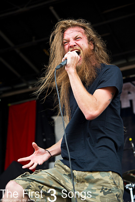 Kyle Gunther of Battlecross performs during the 2013 Mayhem Festival at Klipsch Music Center in Indianapolis, Indiana.
