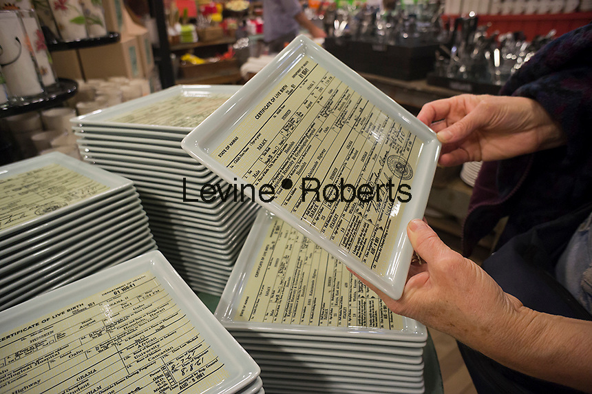 A serving dish decorated with a copy of President Barack Obama's long form birth certificate is sold at the Fishs Eddy housewares store in New York on Sunday, September 16, 2012. (© Richard B. Levine)