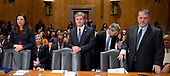 "From left to right: Acting United States Secretary of Homeland Security Elaine C. Duke; Christopher A. Wray<br /> Director, Federal Bureau of Investigation (FBI); and  Nicholas J. Rasmussen, Director, National Counterterrorism Center, Office of the Director of National Intelligence, wait to testify before the United States Senate Committee Homeland Security and Governmental Affairs on ""Threats to the Homeland"" on Capitol Hill in Washington, DC on Wednesday, September 27, 2017.<br /> Credit: Ron Sachs / CNP"