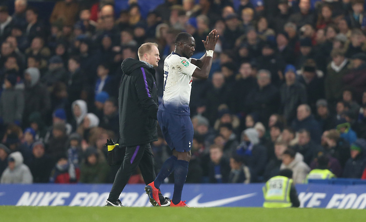 Tottenham Hotspur's Moussa Sissoko goes off injured<br /> <br /> Photographer Rob Newell/CameraSport<br /> <br /> The Carabao Cup Semi-Final Second Leg - Chelsea v Tottenham Hotspur - Thursday 24th January 2019 - Stamford Bridge - London<br />  <br /> World Copyright © 2018 CameraSport. All rights reserved. 43 Linden Ave. Countesthorpe. Leicester. England. LE8 5PG - Tel: +44 (0) 116 277 4147 - admin@camerasport.com - www.camerasport.com