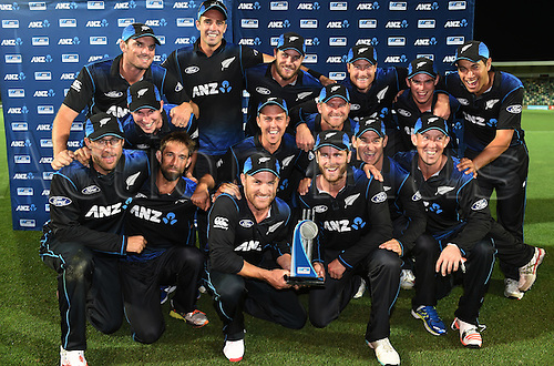 03.02.2015. Napier, New Zealand.  The Black Caps pose for  team photo as they celebrate a 2-0 series victory over Pakistan. ANZ One Day International Cricket Series. Match 2 between New Zealand Black Caps and Pakistan at McLean Park in Napier, New Zealand.