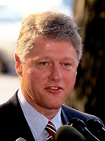***FILE PHOTO*** Bill Clinton Has Not Apologized To Monica Lewinsky And Claims Did The Right Thing Staying In Office.<br /> <br /> Governor Bill Clinton (Democrat of Arkansas), left, the presumptive aspirant for the 1992 Democratic Party nomination for President of the United States, speaks to the press after meeting President Boris Yeltsin of the Russian Federation at the Blair House in Washington, DC on June 18, 1992.<br /> CAP/MPI/RS<br /> &copy;RS/MPI/Capital Pictures
