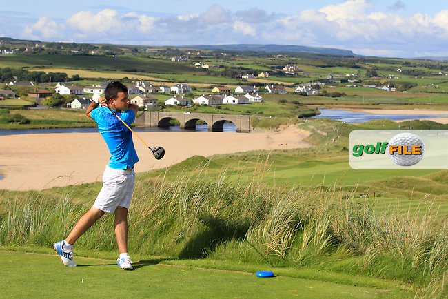 Paul Coughlan (Moate) on the 9th tee during Round 1 of The South of Ireland in Lahinch Golf Club on Saturday 26th July 2014.<br /> Picture:  Thos Caffrey / www.golffile.ie
