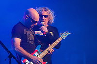 Rock supergroup Chickenfoot, comprised of Sammy Hagar, Joe Satriani, Michael Anthony, and Chad Smith play live, June 5, 2012, at the Queen Elizabeth Theater in Vancouver B.C.  (Scott Alexander/pressphotointl.com)