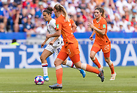 LYON,  - JULY 7: Carli Lloyd #10 dribbles during a game between Netherlands and USWNT at Stade de Lyon on July 7, 2019 in Lyon, France.