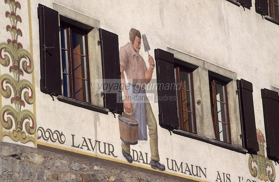 Europe/Suisse/Engadine/St-Moritz: Détail façade d'une maison