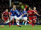 5th November 2017, Goodison Park, Liverpool, England; EPL Premier League Football, Everton versus Watford; Tom Davies of Everton turns away from Kiko Femenia of Watford as Gylfi Sigurdsson looks on