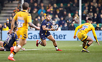 25th January 2020; Sixways Stadium, Worcester, Worcestershire, England; Premiership Rugby, Worcester Warriors versus Wasps; Ollie Lawrence of Worcester Warriors steps inside to set off on a run
