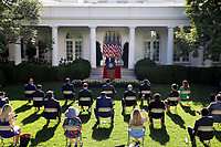 United States President Donald J. Trump holds a press conference in the Rose Garden at the White House in Washington, DC on Tuesday, July 14, 2020.<br /> Credit: Tasos Katopodis / Pool via CNP/AdMedia