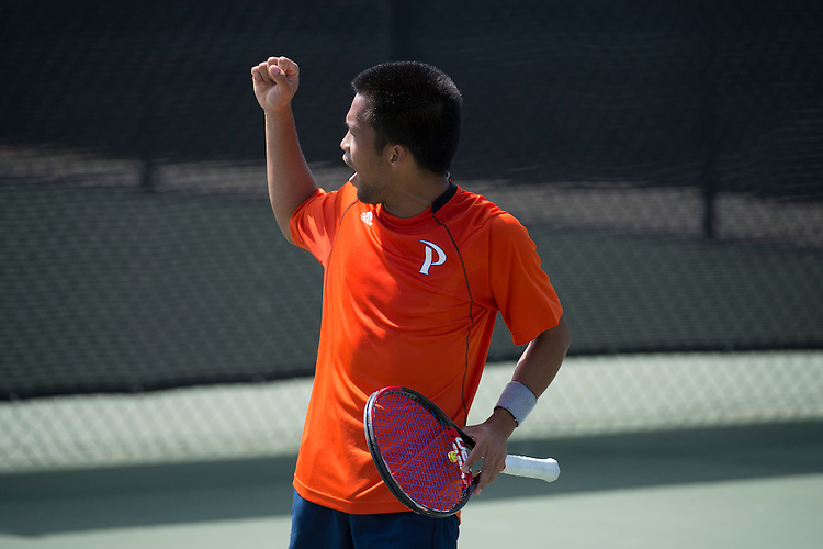 April 27, 2013; San Diego, CA, USA; Pepperdine Waves player Francis Alcantara during the WCC Tennis Championships at Barnes Tennis Center.