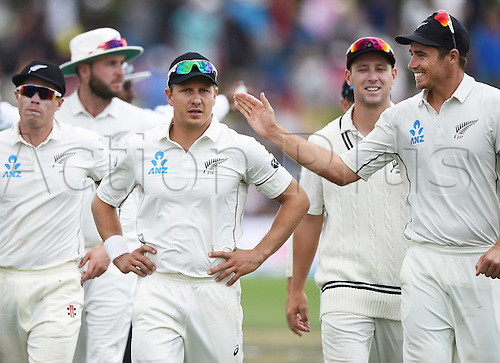 22.02.2016. Christchurch, New Zealand.  Neil Wagner is congratulated by Tim Southee after taking 6 wickets on Day 3 of the 2nd test match. New Zealand Black Caps versus Australia. Hagley Oval in Christchurch, New Zealand. Monday 22 February 2016.