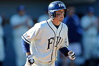 28 February 2010:  FIU's Junior Arrojo (13) runs to first as the FIU Golden Panthers defeated the Oral Roberts Golden Eagles, 7-6 (10 innings), at University Park Stadium in Miami, Florida.