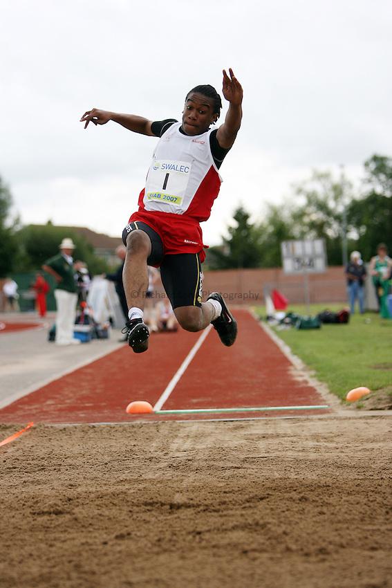 Photo: Rich Eaton...Schools International Athletic Board, Track & Field International Match, Newport. 21/07/2007. Kadeem Greenidge-Smith of England wins bronze in the boys long jump.
