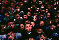 September, 1985. Shaanxi Province, China. Kids in the streets of Yan'an.