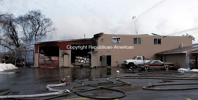 WATERBURY, CT17 February 2006-021706TK08  A Waterbury early morning fire destroyed four business locationed in the Plaza 1215 on Thomaston Aveue Friday morning. The view is in the rear of Plaza 1215.   Tom Kabelka / Republican-American (Fire,Plaza 11215)CQ