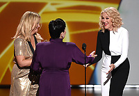LOS ANGELES - SEPTEMBER 22: Alex Borstein accepts the award for supporting actress in a comedy series with Amy Poehler and Catherine O'Hara onstage at the 71st Primetime Emmy Awards at the Microsoft Theatre on September 22, 2019 in Los Angeles, California. (Photo by Frank Micelotta/Fox/PictureGroup)