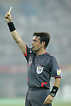 07 August 2008: Referee Pablo Pozo (CHI) shows a yellow card.  The men's Olympic team of the Netherlands played the men's Olympic soccer team of Nigeria at Tianjin Olympic Center Stadium in Tianjin, China in a Group B round-robin match in the Men's Olympic Football competition.