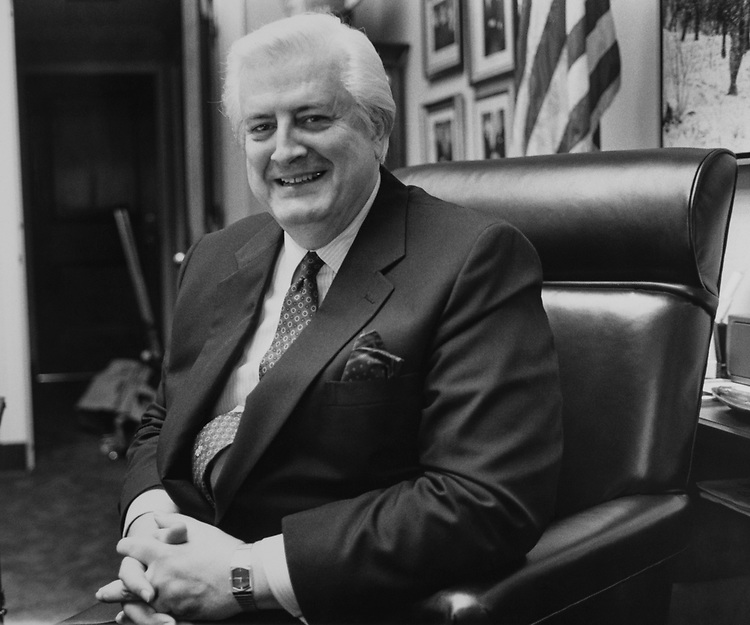 Rep. Henry Hyde, R-Ill., in his office, on March 20, 1989. (Photo by Andrea Mohin/CQ Roll Call via Getty Images)