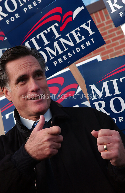 WWW.ACEPIXS.COM . . . . . ....January 8 2008, Derry NH....Republican presidential hopeful and former Massachusetts Governor Mitt Romney and his wife Ann meet voters and campaign at the Hood Middle School polling station in Derry, New Hampshire during the New Hampshire primary ....Please byline: KRISTIN CALLAHAN - ACEPIXS.COM.. . . . . . ..Ace Pictures, Inc:  ..(646) 769 0430..e-mail: info@acepixs.com..web: http://www.acepixs.com
