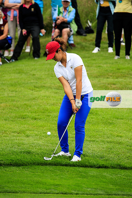 Andrea Lee on the 17th during the Saturday morning foursomes at the 2016 Curtis cup from Dun Laoghaire Golf Club, Ballyman Rd, Enniskerry, Co. Wicklow, Ireland. 11/06/2016.<br /> Picture Fran Caffrey / Golffile.ie<br /> <br /> All photo usage must carry mandatory copyright credit (&copy; Golffile | Fran Caffrey)