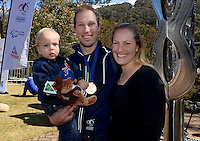 Cameron Rahles-Rahbula (AUS)<br /> Gold medalist w/son Archie & wife Emily<br /> Skiing - APC / Slalom<br /> IPC Alpine Skiing World Cup<br /> Thredbo Resort NSW<br /> Wednesday 4th September 2013<br /> © Sport the library / Jeff Crow