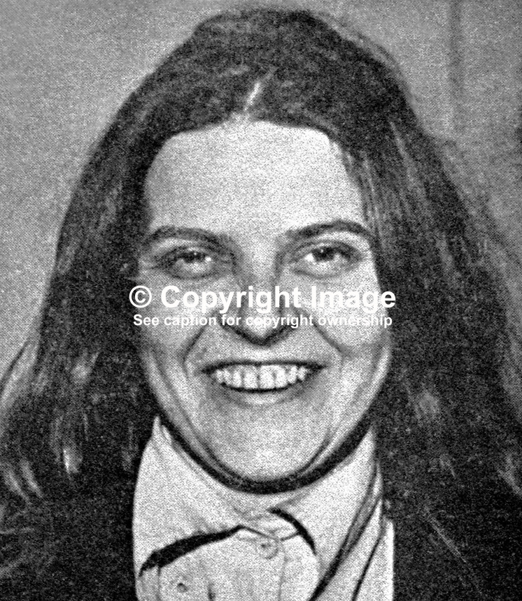 Bridget Rose Dugdale, English, former debutante who rebelled against her wealthy background and became a volunteer in the Provisional IRA.  As well as being wanted by the security forces in N Ireland she was also sought by police in the Rep of Ireland in connection with a major art theft. 197405000114RD2.<br /> <br /> Copyright Image from Victor Patterson<br /> www.victorpatterson.com<br /> 54 Dorchester Park<br /> Belfast, UK, BT9 6RJ<br /> <br /> t: +44 28 9066 1296<br /> m: +44 7802 353836<br /> <br /> e1: victorpatterson@me.com<br /> e2: victorpatterson@gmail.com<br /> <br /> For Terms and Conditions please visit my website.